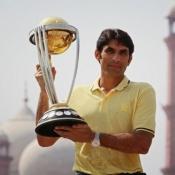 Pakistan Captain Misbah-ul-Haq holds the ICC CWC 2015 Trophy at Minar-e-Pakistan, 17 Sep 2014, Lahore