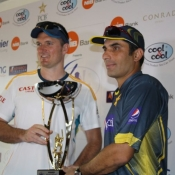 Graeme Smith and Misbah-ul-Haq pose with the series Trophy