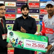 Sialkot Stallions Shoaib Malik receives Man of the Match award in Faysal Bank Super Eight T20 2nd Semi Final