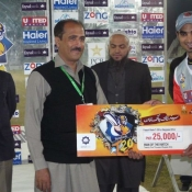 Sialkot Stallions Imran Nazir receives Man of match award in Faysal Bank T20 match against Hyderabad Hawks
