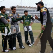 Inzamam-ul-Haq giving tips to Pakistan Cricket Team Batsmen during the training camp for the Upcoming tour of India
