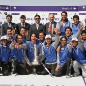 Group Photograph of Quaid-e-Azam Trophy 2012-13 winners Karachi Blues with Subhan Ahmed (COO) & Javed Miandad (DG) of PCB