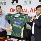 PCB COO Mr. Subhan Ahmad, Director CA Sports Mr. Zahid Javed and PCB Director Marketing Mr. Badar Refaie unveiling official kit for the series against Australia