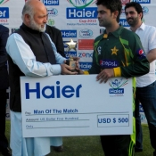 Ahmed Shehzad receives Man of the match award in 2nd T20 against Zimbabwe at Harare
