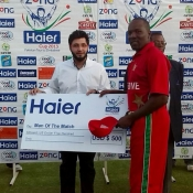 Hamilton Masakadza receives Man of the match award in 1st ODI between Pakistan and Zimabwe at Harare