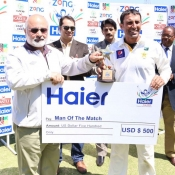 Younis Khan receives Man of the match award in 1st Test between Pakistan and Zimbabwe at Harare