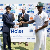 Tendai Chatara receives Man of the match award in 2nd Test against Pakistan at Harare