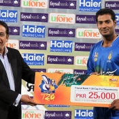 Mohammad Khalil of ZTBL receives Man of the match award against HBL