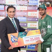Shoaib Malik of PIA receives Man of the match award against KRL