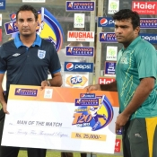 HBL Fahad Masood receives Man of the Match award in Pepsi Presents Advance Telecom Ramadan T20 Cup match against PIA
