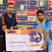 KRL Zain Abbas receives Man of the match award in Pepsi Presents Advance Telecom Ramadan T20 Cup match against NBP