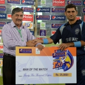 SBP Adnan Raees receives Man of the Match award in Pepsi Presents Advance Telecom Ramadan T20 Cup match against UBL