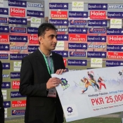 Abbottabad Falcons Mir Azam declares Man of the Match against Islamabad Leopards in Faysal Bank T20 match 2012-13