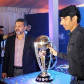 Misbah-ul-Haq and Moin Khan with the ICC World Cup Trophy 2015 at Lahore