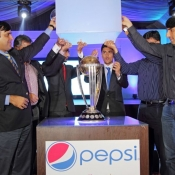 Subhan Ahmad PCB COO and Misbah-ul-Haq unveiling ICC World Cup Trophy 2015