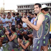 Pakistan team celebrate Misbah-ul-Haq birthday during summer camp at Gaddafi Stadium Lahore