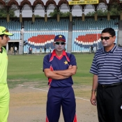 Misbah-ul-Haq and Abdur Rehman during toss in practice match