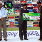Faisalabad Wolves Khurram Shehzad receives Man of the Match award