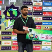 Rawalpind Rams Hammad Azam receive Man of the Match award in Faysal Bank Super Eight T20 match against Wolves