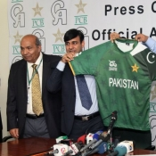 Mr. Subhan Ahmed COO, PCB and Mr. Zahid Javed representative CA Sports unveiled Pakistan Cricket Team New Kit for ICC World Twenty20  at Gaddafi Stadium Lahore.