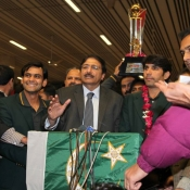 Pakistan team reception at Lahore Airport after winning the ODISeries against India
