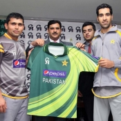 Kamran Akmal and Umar Gull unveiled the Pakistan Cricket Team New Uniform for the Upcoming tour of India and South Africa at Gaddafi Stadium Lahore.