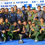 Pakistan U-19s team celebrate with the trophy after winning the series against Afghanistan U-19