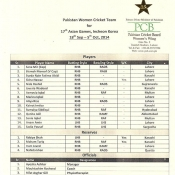 Pakistan Women team for Asian Games 2014