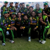Pakistan team pose with the trophy after winning the T20 series 2-0 against Zimbabwe