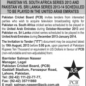 PCB invites bids for TV Broadcasting rights of Pak v SA and Pak v SL series 2013-14 in UAE