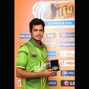 Mohammad Nawaz holds Man of the Match award in ICC U-19 World Cup match against New Zealand