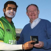 Babar Azam is presented with the Man of the Match award in ICC Under 19 World Cup 2012 match against Afghanistan Under-19s