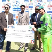 Saeed Ajmal receives Player of the match award in 1st Test between Pakistan and Zimbabwe at Harare
