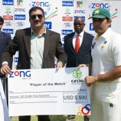 Misbah-ul-Haq receives Player of the match award in 2nd Test against Zimbabwe at Harare