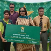 Player of the match in 1st match on 9 July 2012 of Women Cricket Triangular T20 Tournament 2012 in Karachi