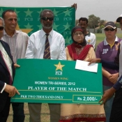 Player of the match in 5th match of Women Cricket Triangular T20 Tournament 2012 in Karachi