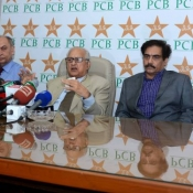 Chairman PCB Shaharyar M. Khan addresses a Press Conference at National Stadium, Karachi