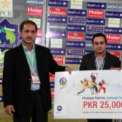 Iftikhar Anjum of Islamabad Leopards receiving man of the match award against Bears