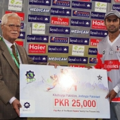 Sialkot Stallions Shoaib Malik declares Man of the Match against Karachi Zebras in Faysal Bank T20 match 2012-13