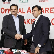 COO Subhan Ahmad with Director CA Sports Zahid Javed at the signing ceremony between PCB and CA Sports
