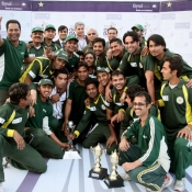 Group photo of winners PIA team with PCB COO Mr. Subhan Ahmed and Director Domestic Cricket Mr. Zakir Khan