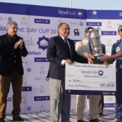Karachi Dolphins captain Asif Zakir lift the One Day Cup Trophy 2013-14