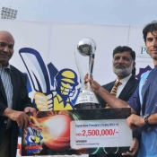 SNGPL Captain Misbah-ul-Haq receives President Trophy 2013-14