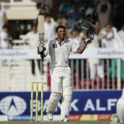 Younus Khan celebrates on century
