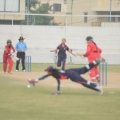 Marium Bukhari tries to stop the ball