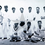 President XI photographed at National Stadium Karachi, during an exhibition match played with the Indian Starlets XI in April 1960