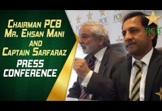 Chairman PCB, Mr. Ehsan Mani and Captain Sarfaraz Ahmed press...